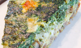 Sausage Crusted Spinach Quiche