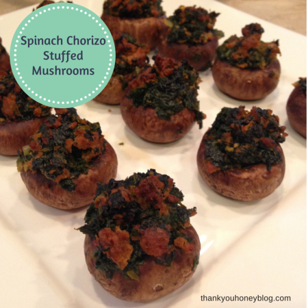 Spinach Chorizo Stuffed Mushrooms