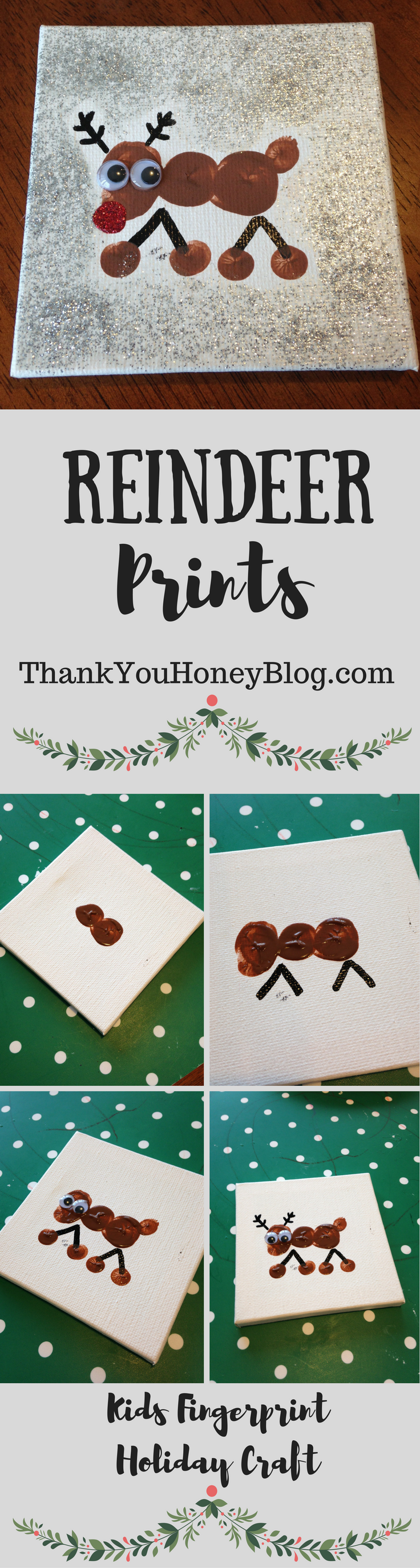 Reindeer Prints, Reindeer Prints, Kids Holiday Craft, Christmas, Ornaments, Reindeer, Easy, Can Make, Gifts, Classrooms, DIY, Children, Fingerprints, Childrens, Tutorials, Kids, Projects, http://thankyouhoneyblog.com