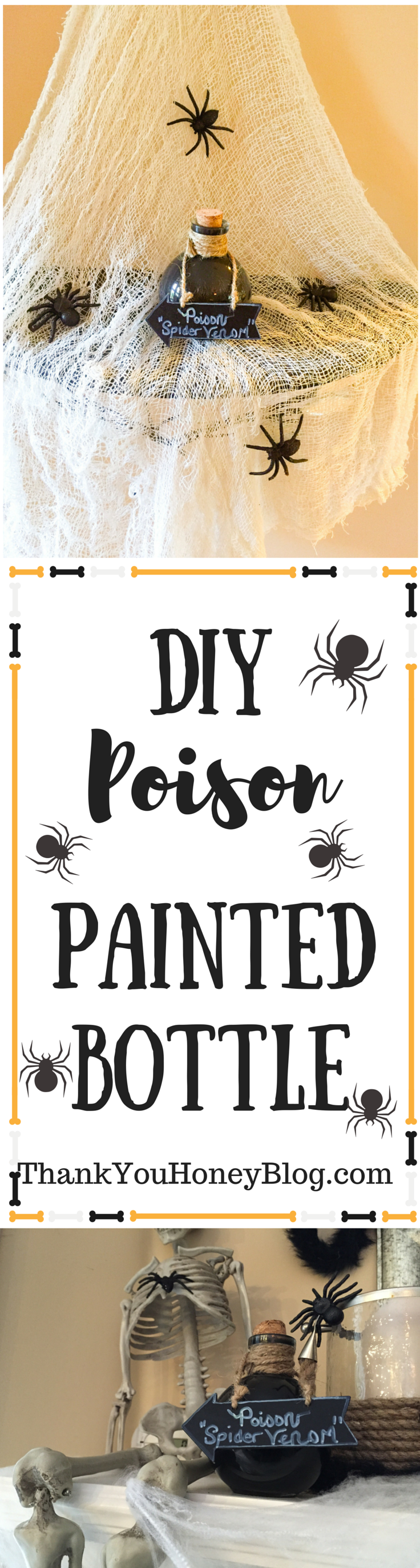 DIY Halloween Painted Poison Bottles