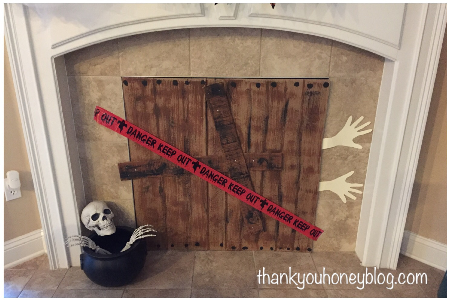 Diy spooky halloween fireplace cover Decorative fireplace covers