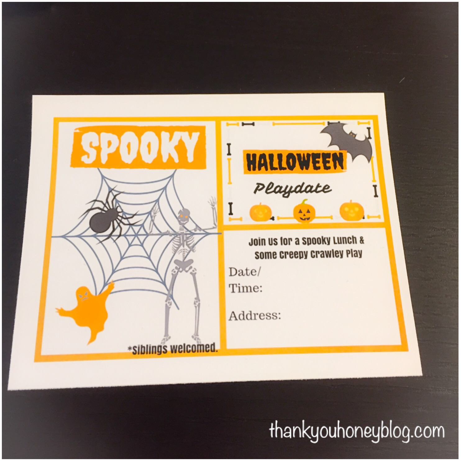 Halloween Themed Playdate Invitation Printable