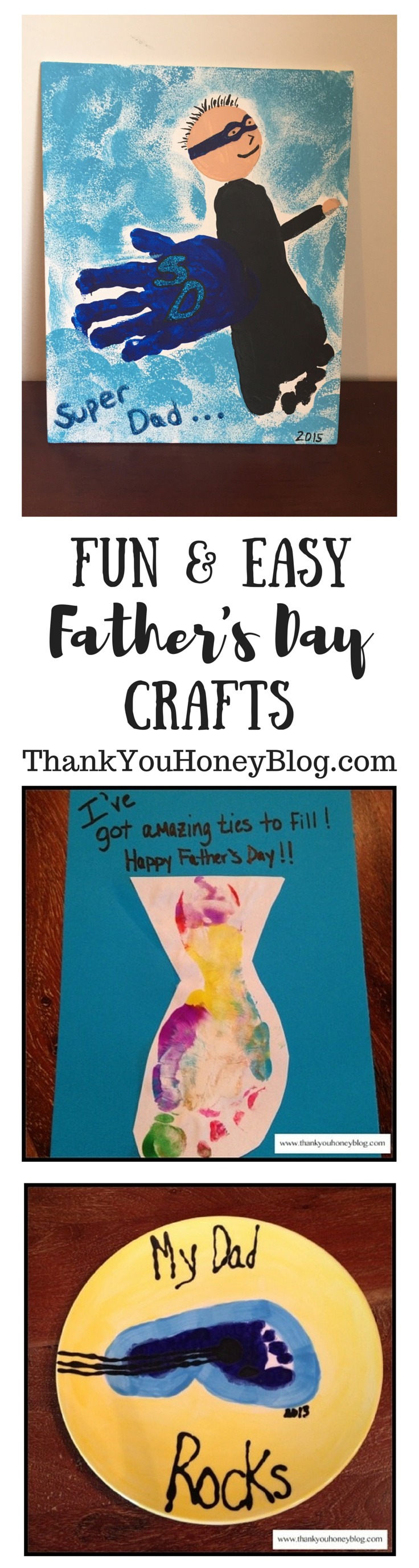 Fun & Easy Father's Day Crafts, Father's Day Gift Ideas, Crafts, DIY, Gifts from Kids, Homemade, Cards, Handmade, Made with Love, http://thankyouhoneyblog.com