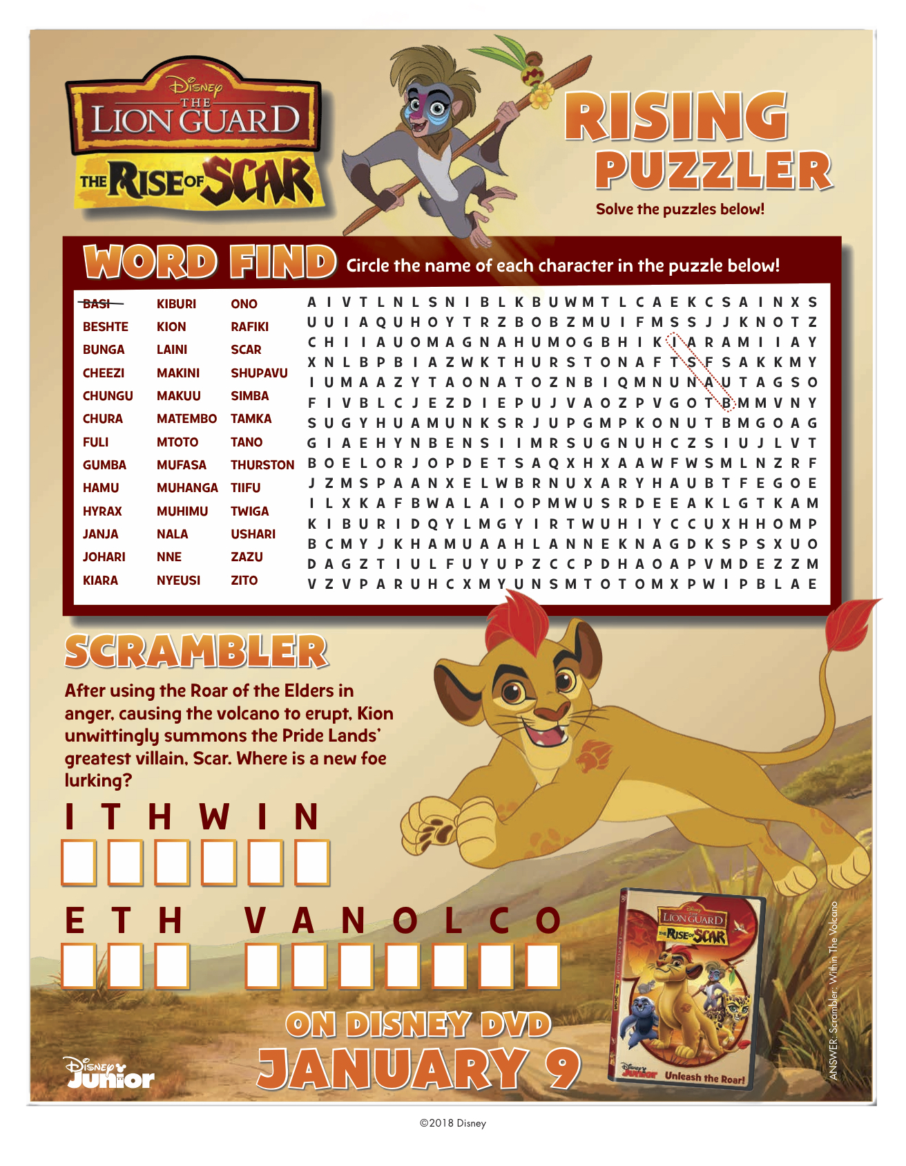 The Lion Guard- The Rise of Scar Puzzler